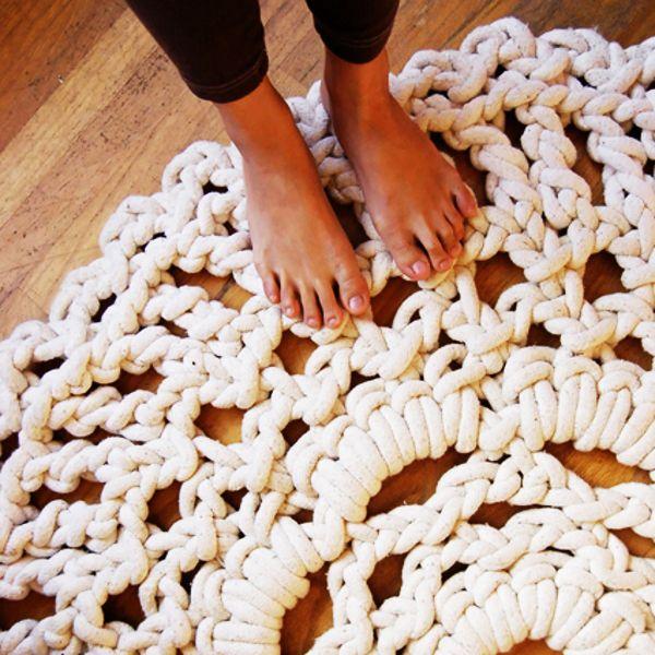 Толстые нитки для вязания ковриков крючком 61