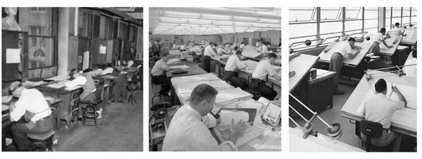 Черно-белое фото офиса с винтажными стульями