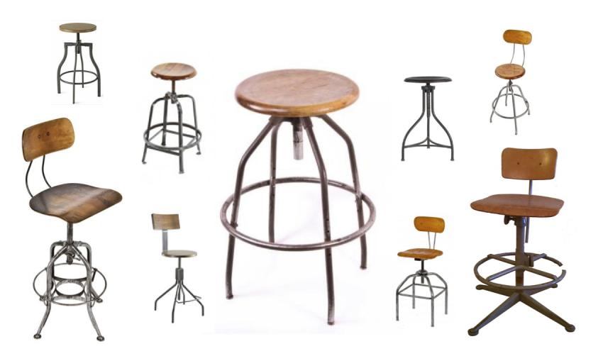 Деревянные табуреты и стулья