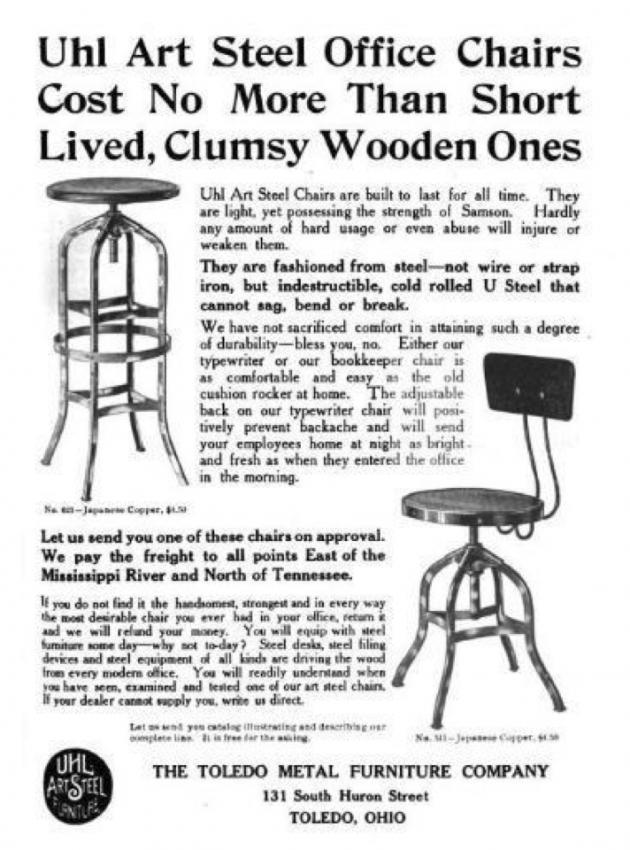 Страница из журнала с историей создания офисных стульев