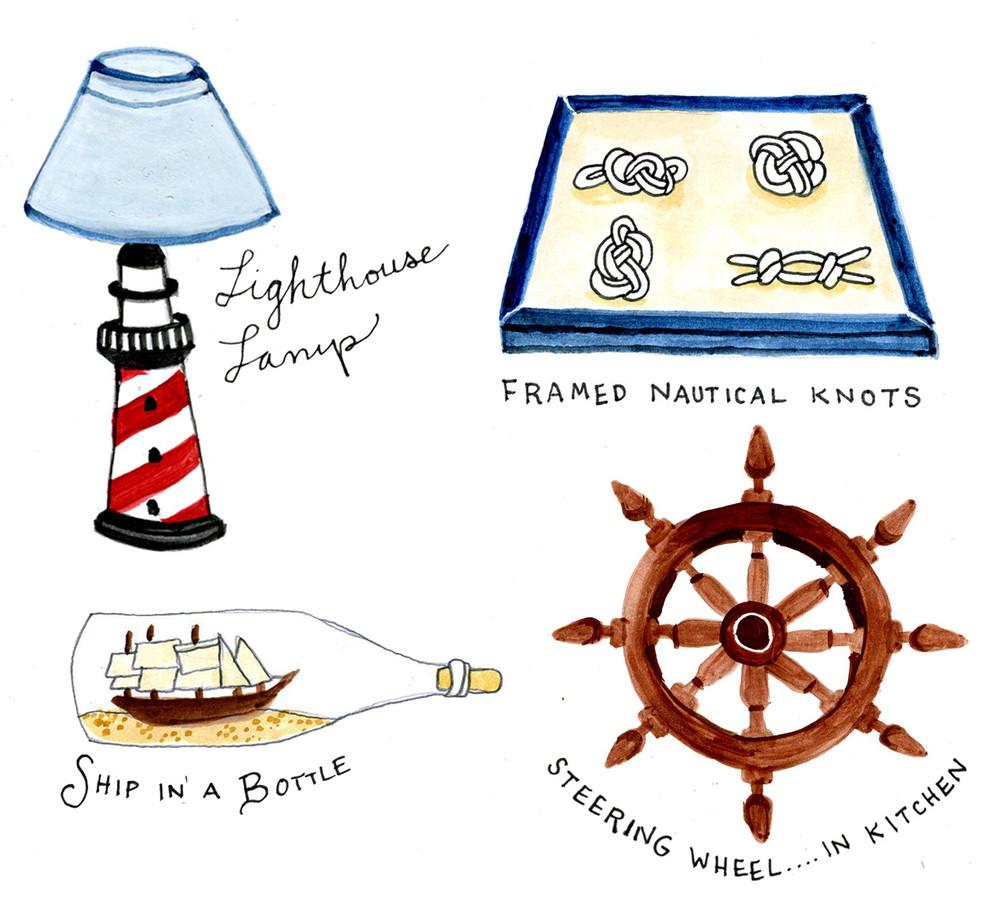 Рисунок с предметами интерьера в морском стиле