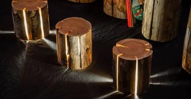 Необычные светильники из пней и брёвен от Дункана Мирдинга