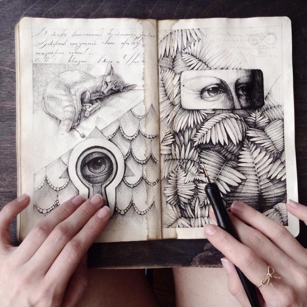Скетч-альбомы с мистическими иллюстрациями Елены Лимкиной