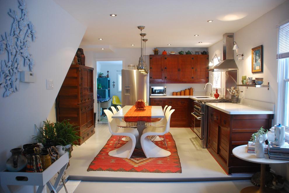 Прекрасный дизайн интерьера кухни в стиле эклектика