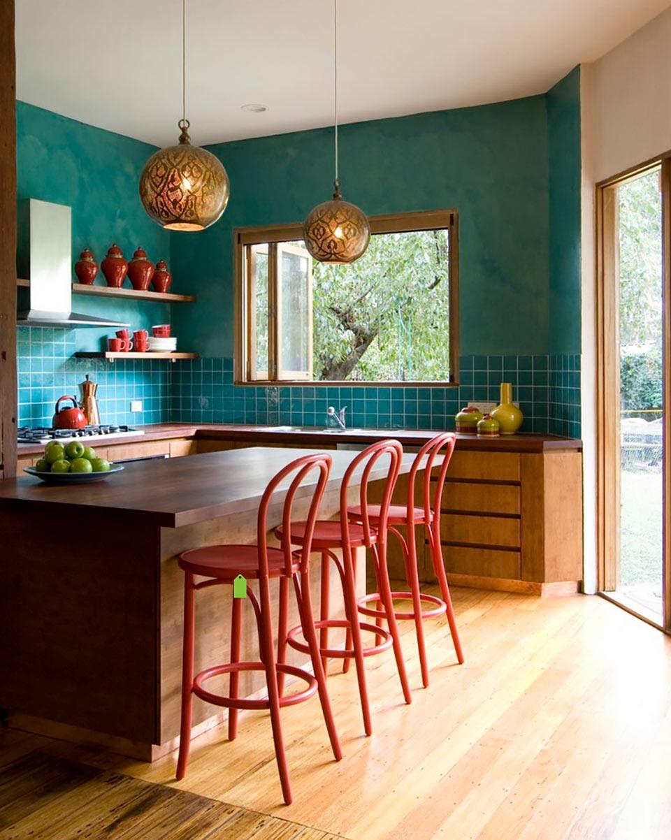 Шикарный дизайн интерьера кухни в стиле эклектика