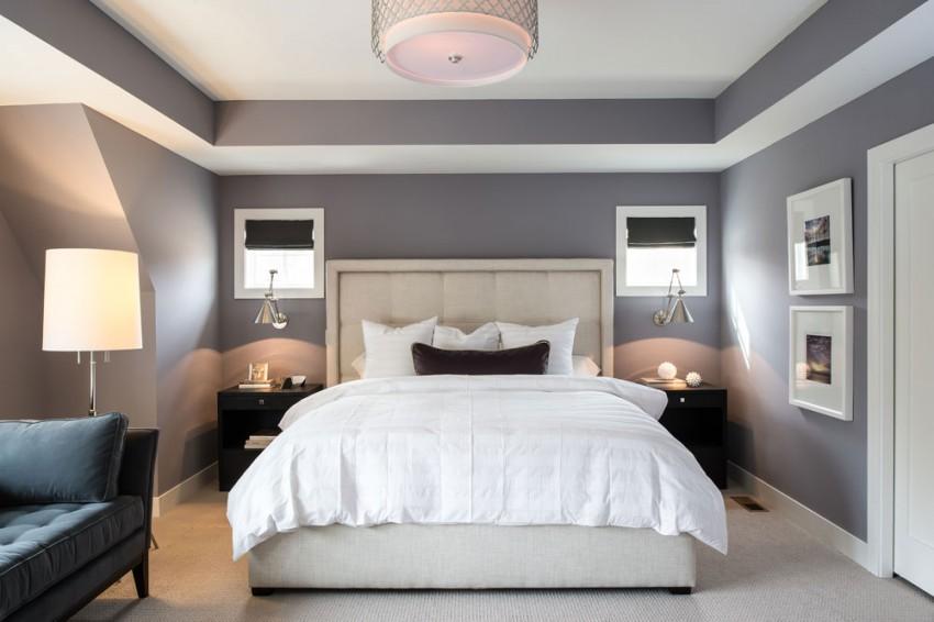 Интерьер эклектичной спальни в светлых тонах