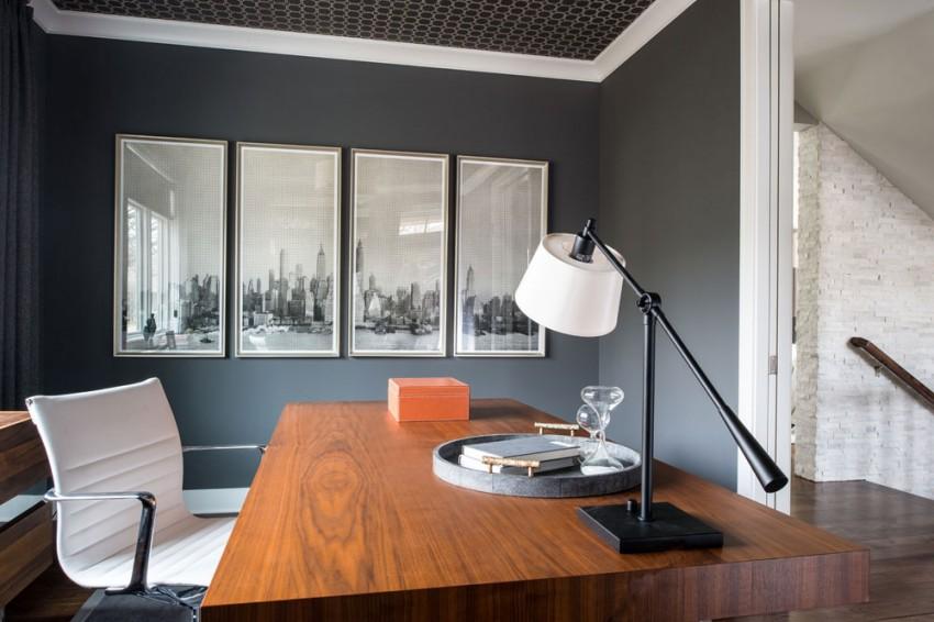 Интерьер эклектичного кабинета в светлых тонах