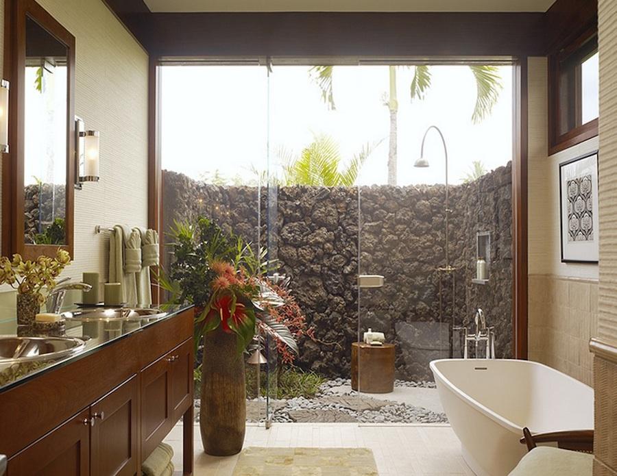 Озеленение в интерьере ванной комнаты от Green designers