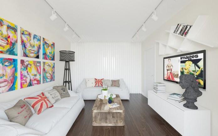Белоснежное оформление гостиной комнаты