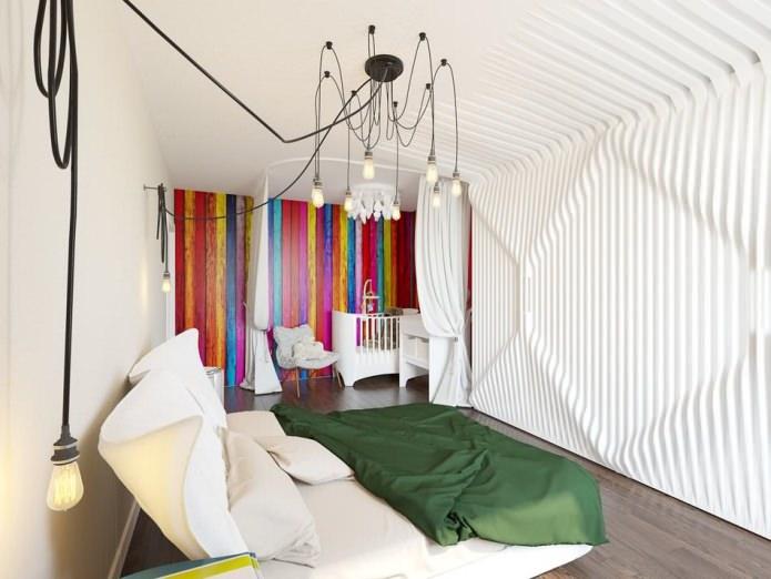 Подвесной светильник в интерьере спальной комнаты