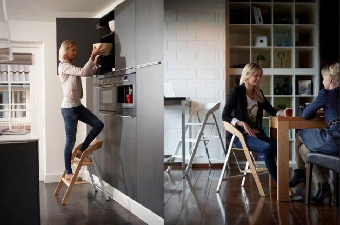 Креативный стул-стремянка в помещении