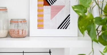Настенное панно с вышивкой разноцветных геометрических фигур от Beautiful Mess