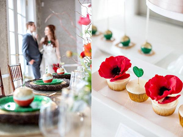 Декор свадьбы в бутылочном и рубиновом цвете