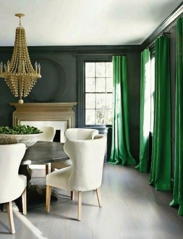 Зеленые шторы в столовой