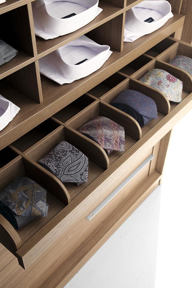 Выдвижная полка в шкафу для хранения галстуков