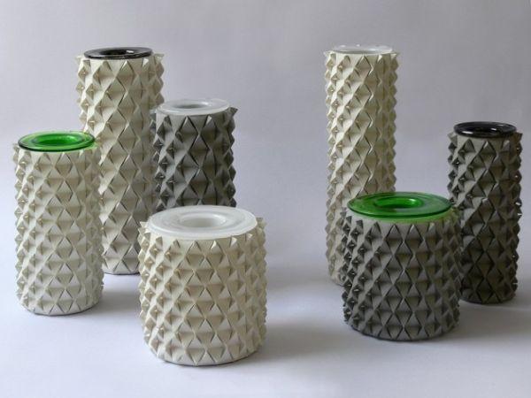 Оригами вазы из бетона в дизайне интерьера