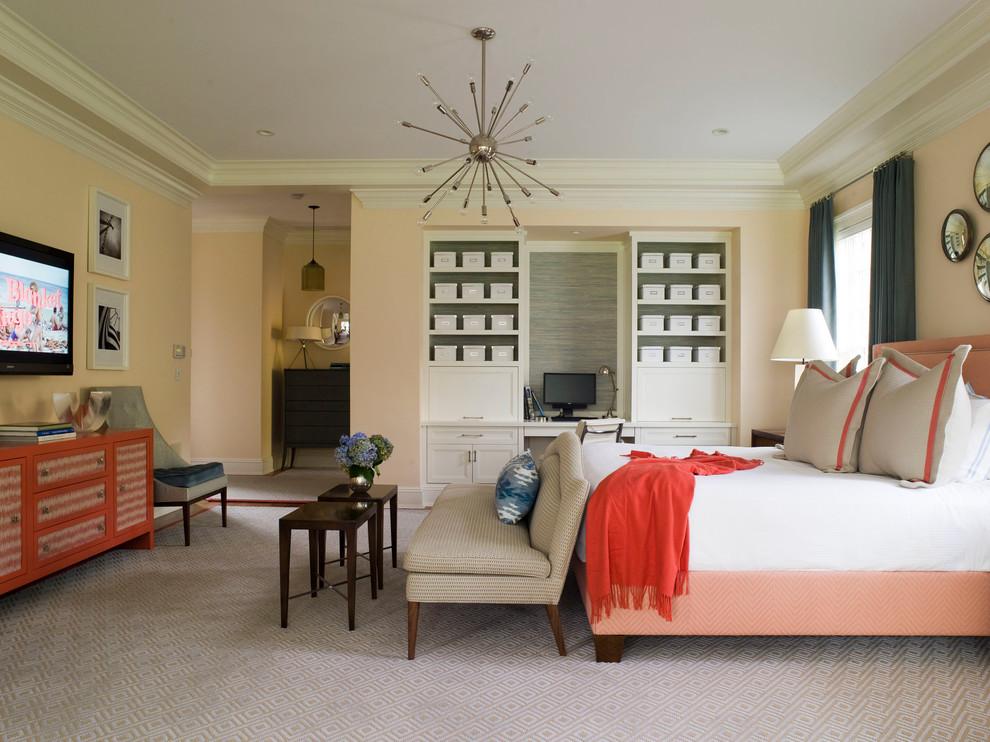 Серые и оранжевые цвета в интерьере спальни