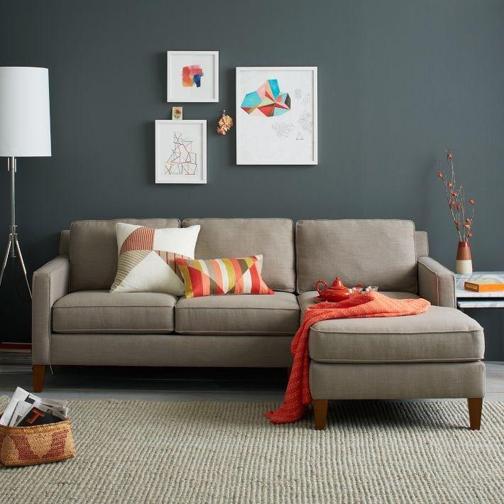 Модные серые и оранжевые цвета в интерьере