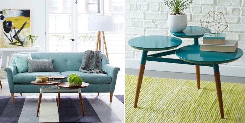Бирюзовый диван и журнальный столик