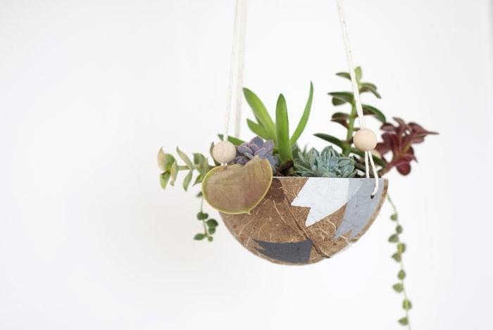 Подвесной горшок для растений из скорлупы кокосового ореха