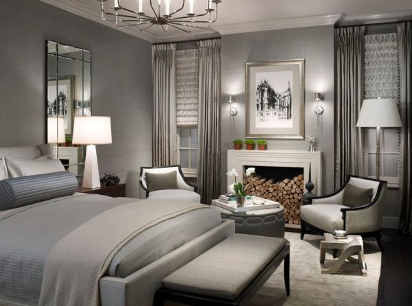 Интерьер спальни в серых тонах