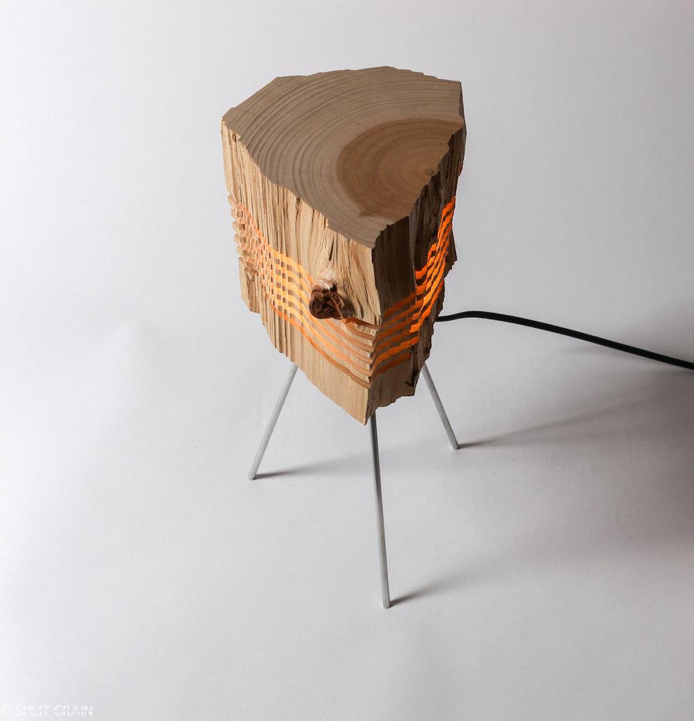 Split Grain: изящные деревянные светильники в стиле минимализм от Пола Фоклера