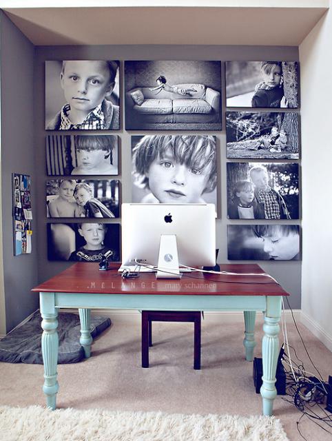 Фотографии детей в домашнем офисе