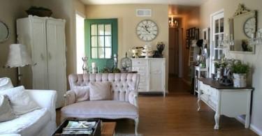 Белый интерьер гостиной во французском деревенском стиле