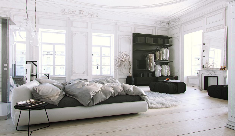 Уютная комната в чёрно-белом цвете