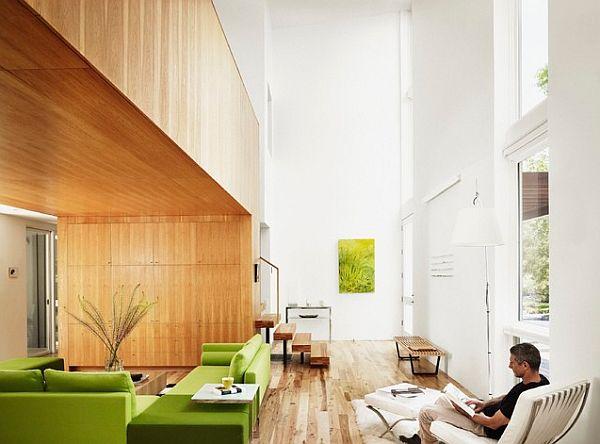 Зелёные диваны в гостиной