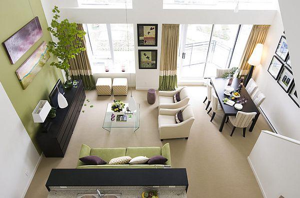 Зелёные акценты в интерьере гостиной