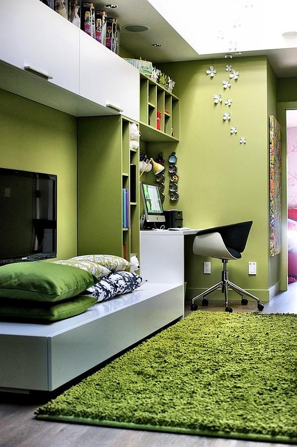 Интерьер гостиной в зелёном цвете
