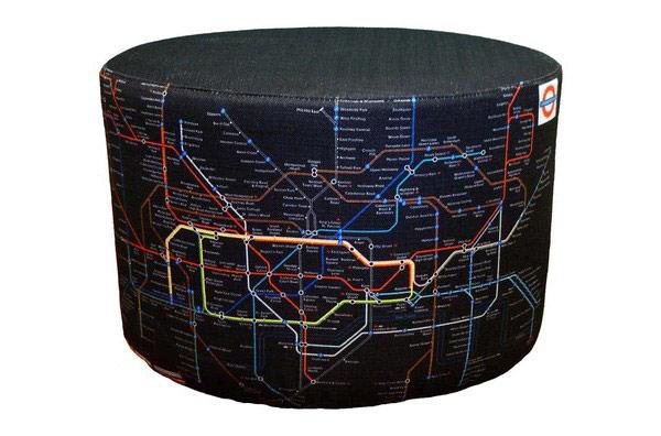 Яркий пуфик с картой метро от Энсли
