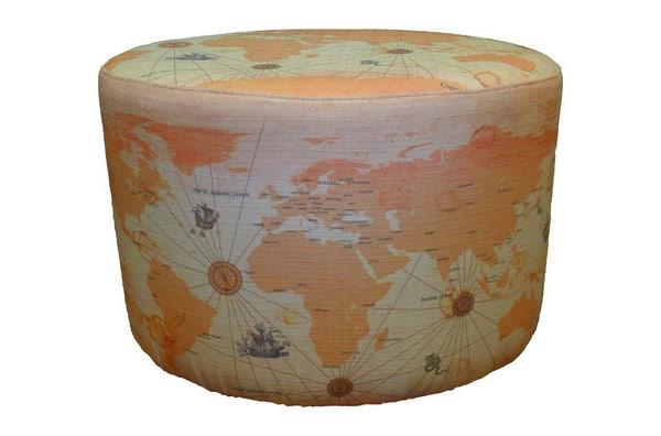 Шикарный пуфик с картой мира от Энсли