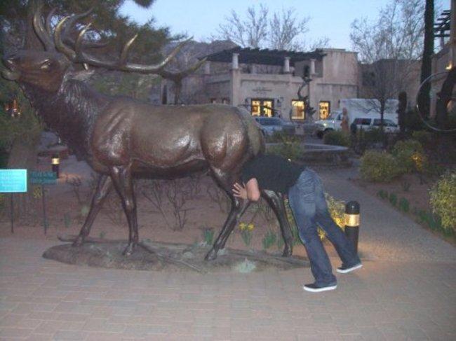 Креативное фото со статуей