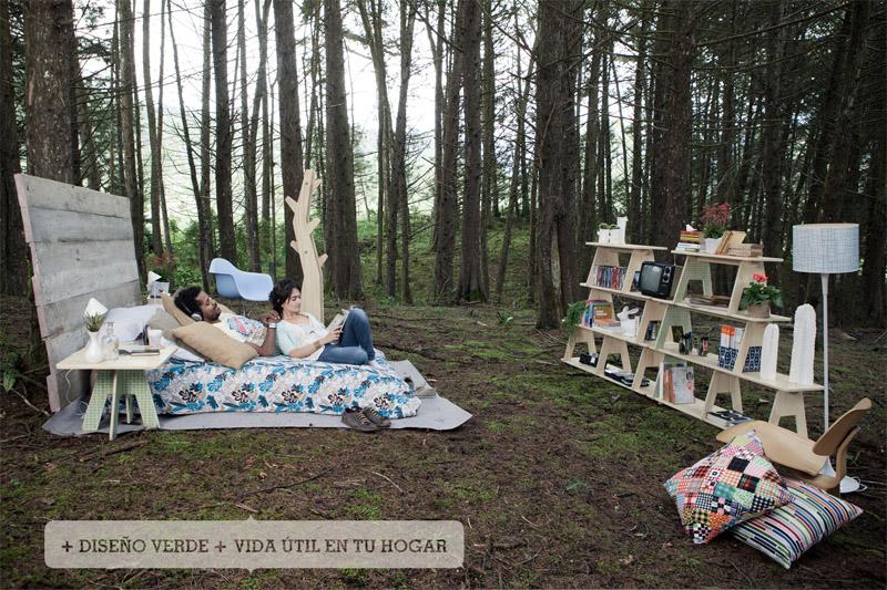 Крутая кровать стеллаж, светильник на фоне природы