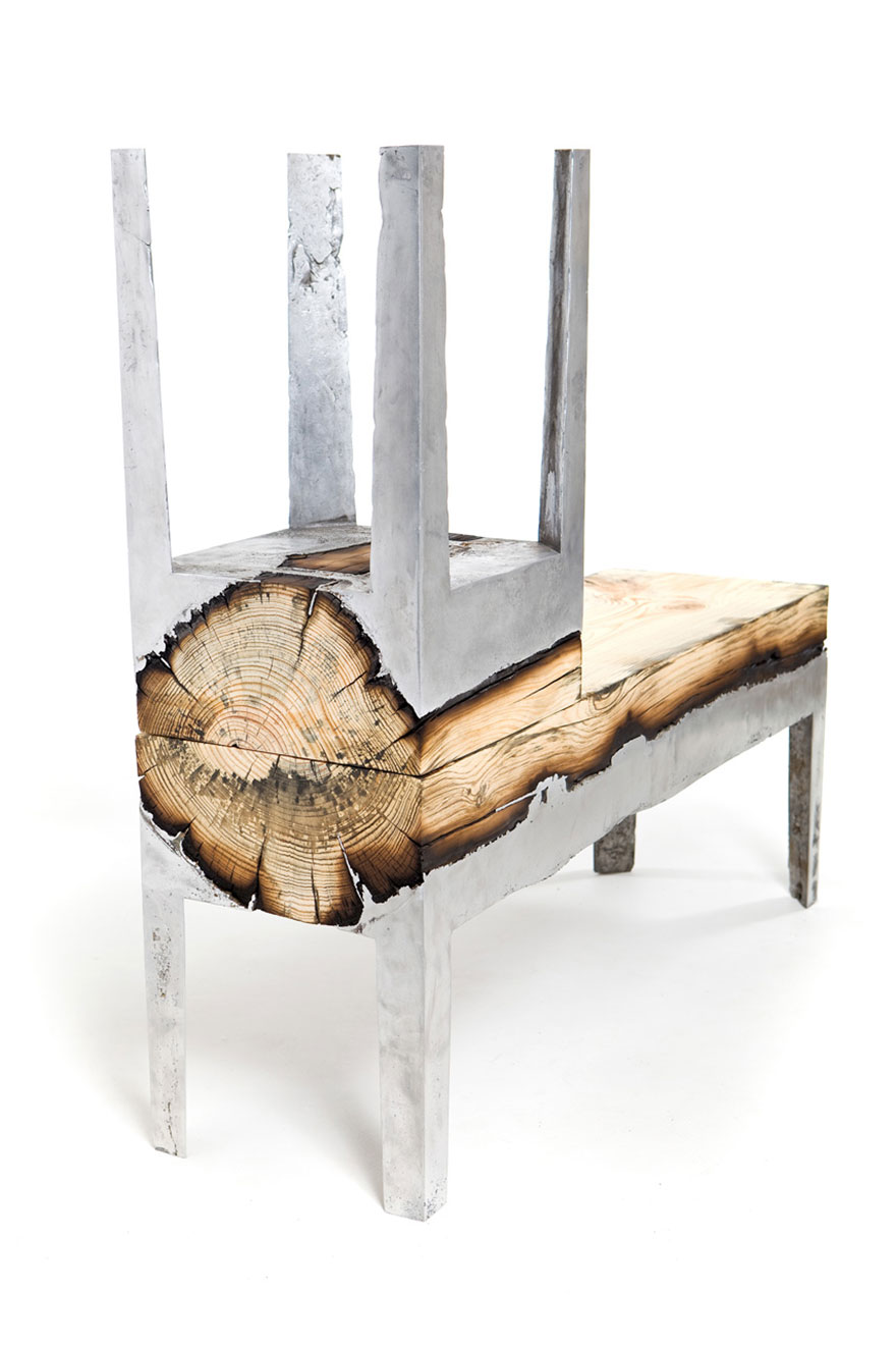 Furniture made of cast aluminum and wood from Hila Shamia, Israel