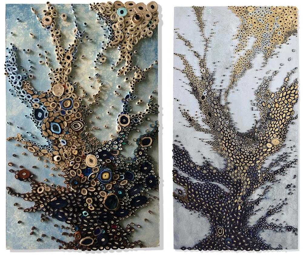 Океанские пейзажи от Эми Дженсер: рулончики из тутовой бумаги вместо красок