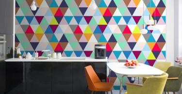 Красивое оформление стен с геометрическими узорами