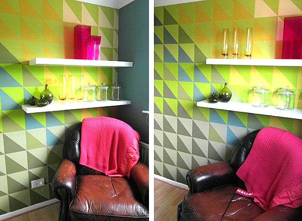 Геометрический узор в оформлении комнаты