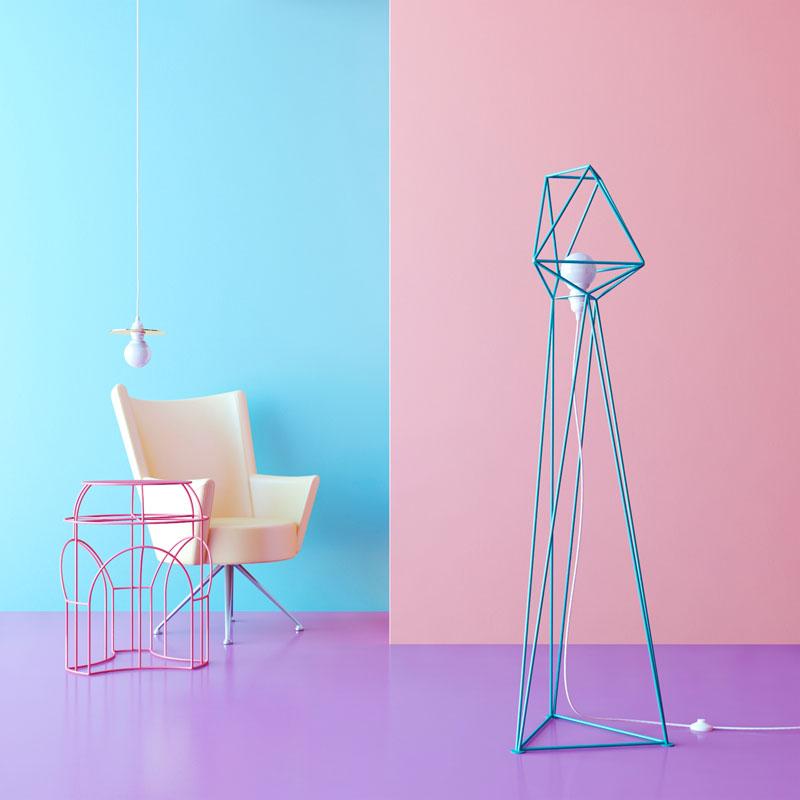 Геометрические светильники: торшер голубого цвета