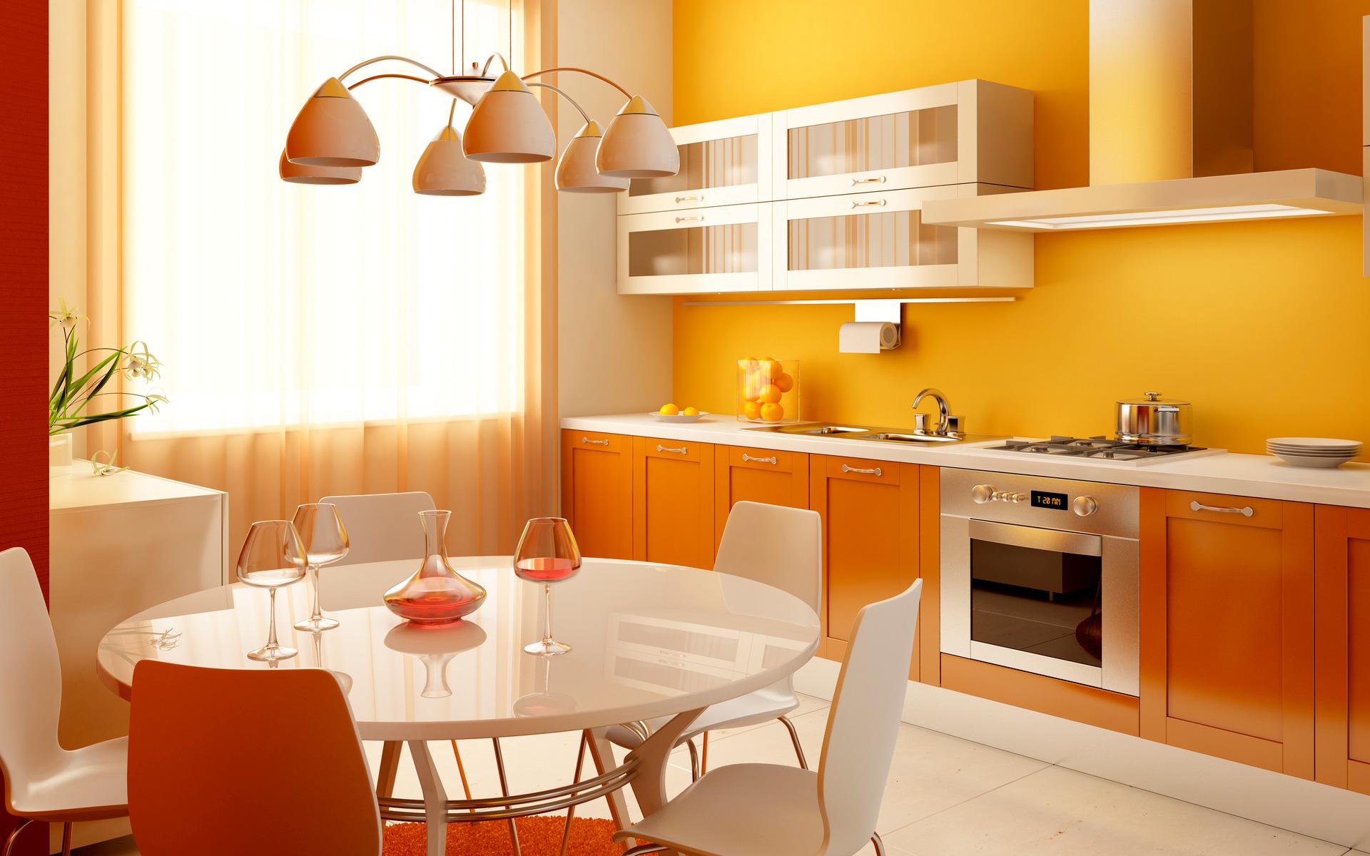 Оранжевое оформление кухни