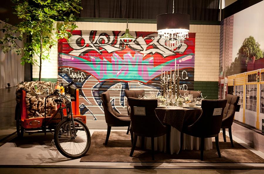 Умопомрачительные граффити на стене комнаты