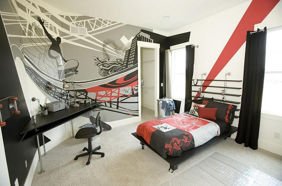 Очаровательные граффити на стене комнаты