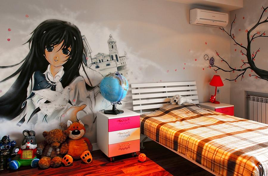 Роскошные граффити на стене комнаты