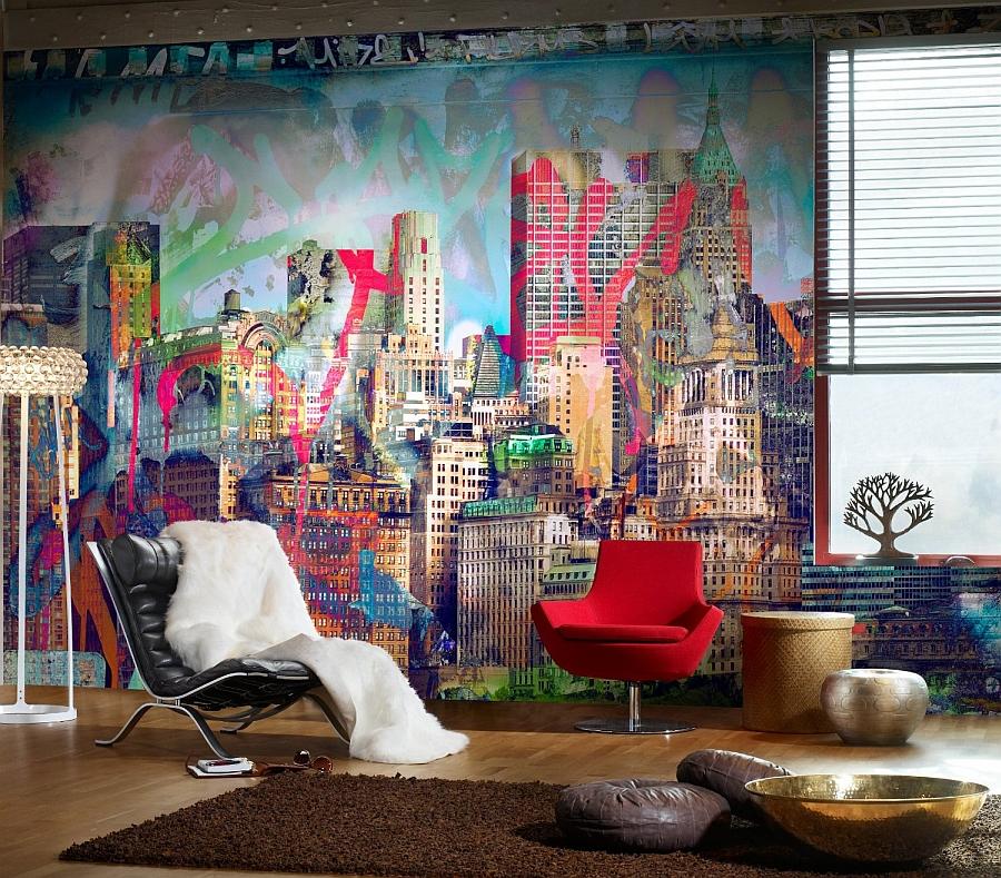 Яркие граффити на стене комнаты