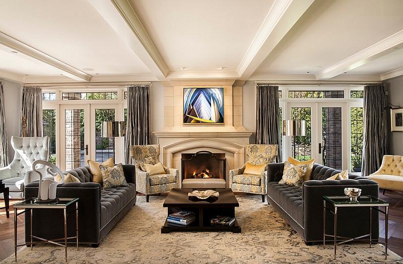 Желто-серые оттенки в оформлении гостиной