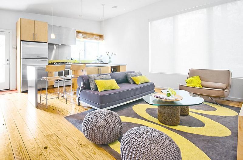 Желтые и серые тона в дизайне интерьера гостиной