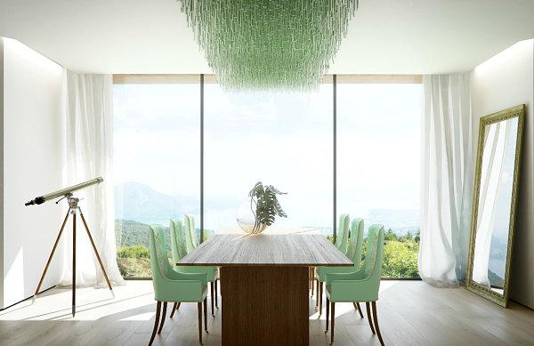 Зеленые стулья в столовой