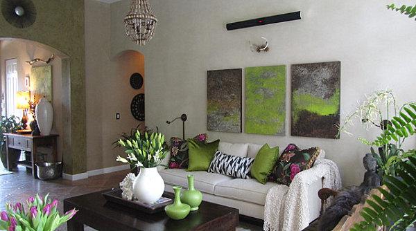 Оливковый цвет стены над аркой в интерьере